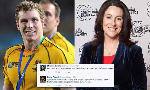 Columnist calls a rugby star a 'tosser' on Twitter for doing a 'jazz hands' celebration