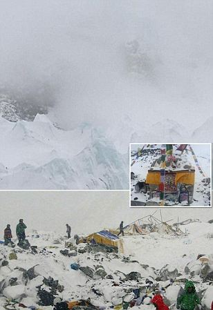 Terrifying moment rock and ice swept down Everest towards British climbers stranded at