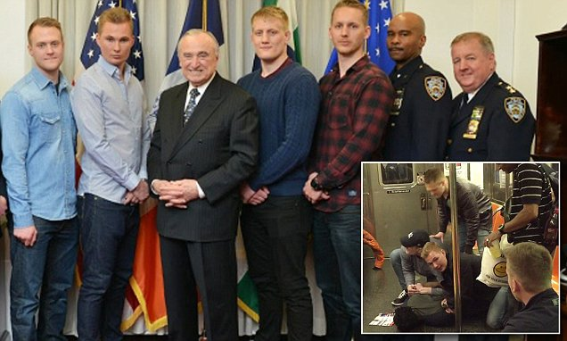 Police Commissioner Bill Bratton thanks Swedish hero cops who broke up NYC subway brawl by