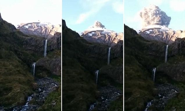 The moment a hiker gets the shock of his life when the volcano he was filming erupts