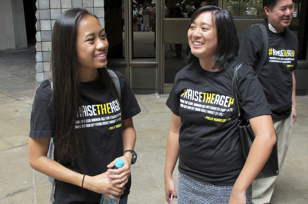 Sabrina Olaes, 17, (left) got involved in promoting the legislation after finding herself in restrooms full of electronic cigarette fumes when her classmates vaped at her high school.