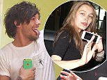 23.APRIL.2015 - LONDON - UK LOUIS TOMLINSON OF ONE DIRECTION PICTURED ARRIVING BACK AT HIS LONDON HOTEL HAND IN HAND WITH A MYSTERY FEMALE COMPANION. LOUIS WAS SEEN POKING HIS TOUGUE OUT AND GIVING THE THUMBS UP TO FANS OUTSIDE THE HOTEL. BYLINE MUST READ : XPOSUREPHOTOS.COM ***UK CLIENTS - PICTURES CONTAINING CHILDREN PLEASE PIXELATE FACE PRIOR TO PUBLICATION *** UK CLIENTS MUST CALL PRIOR TO TV OR ONLINE USAGE PLEASE TELEPHONE 0208 344 2007**