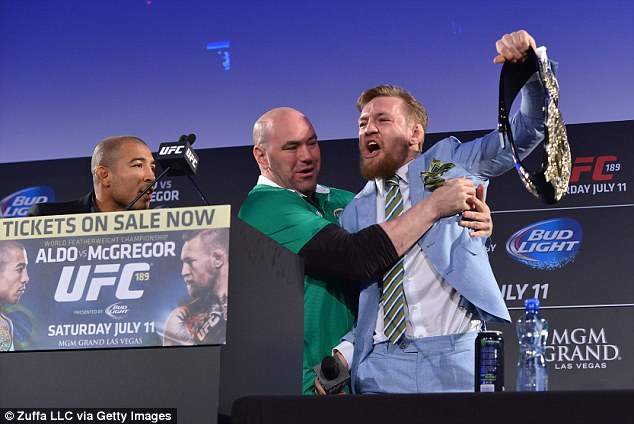 Conor McGregor grabbed Jose Aldo's belt in front of 5,000 screaming fans on Tuesday night