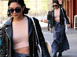 Actress Vanessa Hudgens, wearing a jean skirt with double-breasted button and tie-string, peach cropped top, ankle boots and leather jacket, leaves for her matinee performance of 'Gigi: The Musical' on April 25, 2015 in New York City.\n\nPictured: Vanessa Hudgens\nRef: SPL1008564  250415  \nPicture by: Christopher Peterson/Splash News\n\nSplash News and Pictures\nLos Angeles: 310-821-2666\nNew York: 212-619-2666\nLondon: 870-934-2666\nphotodesk@splashnews.com\n