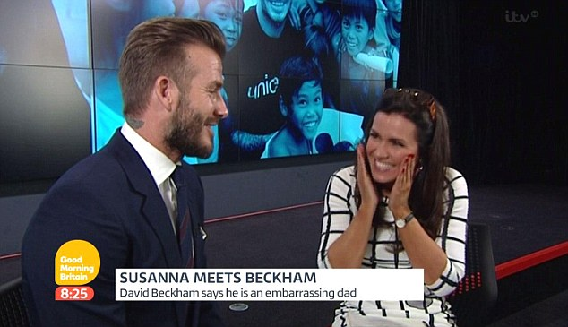 Giddy: She's had the pleasure of chatting to the likes of David Beckham, Jeremy Renner, Alex Turner and Tom Cruise, and has often garnered attention for her light-hearted and cheeky interview style
