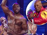 23 April 2015 - Los Angeles - USA  **** STRICTLY NOT AVAILABLE FOR USA ***  Mike Tyson wears tight leather trousers for his Lip Sync Battle but still loses out to a topless Terry Crews. The former boxer and ex-NFL player went head-to-head on the hilarious show. Tattoo faced Tyson opened the bout by gyrating in tight trousers to (I Canít Get No) Satisfaction by the Rolling Stones, while Crews went back to the days when he was 12 years old and the song ìthat made me a man,î by rapping Run D.M.Cís Sucker MCís. For round two, Tyson delivered his most shocking move since biting part of Evander Holyfieldís ear off in 1997 by squeezing into super tight leather pants for Salt-N-Pepaís Push It and grinding his hips around the stage. Crews, however, upped even that by opting to strip to the waist for his next performance and ripple his pecs provocatively to channel Shania Twain while spinning around in white pants. Ultimately, Crews took the title and the snatched another winnerís belt from Tys