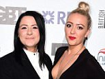 Lucy Spraggan (left) and Georgina Gordon arriving at the British LGBT Awards at the Landmark Hotel, London. PRESS ASSOCIATION Photo. The awards showcase individuals and organisations who have demonstrated an outstanding commitment to the lesbian, gay, bisexual, and transgender community. Picture date: Friday April 24, 2015. Photo credit should read: Ian West/PA Wire