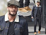 Picture Shows: David Beckham  April 24, 2015    ** Min web / online fee £150 For Set **    British Football icon David Beckham is seen out and about with his agent Dave Gardner in London, England.    The former football player was dressed in a black T-shirt, black jeans, a dark blue denim jacket with a fur collar, tasseled brown shoes and a grey flat cap.    Exclusive  WORLDWIDE RIGHTS  Pictures by : FameFlynet UK © 2015  Tel : +44 (0)20 3551 5049  Email : info@fameflynet.uk.com