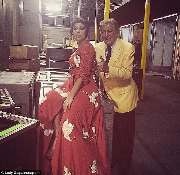 Hard at work: The pop star is currently on her Cheek to Cheek tour date with Tony Bennett