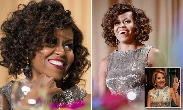 Michelle Obama unveils new curly hairstyle as she leads the way at the annual White House