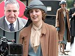 """Picture Shows: Laura Carmichael  April 10, 2015    The cast of 'Downton Abbey' seen filming the wedding of Carson and Mrs Hughes in Burghclere, Hampshire, England.    Later on the cast and crew moved over to Lincoln Inn Fields to film a scene with Lady Edith Crawley.     The television show is currently filming its sixth and final series although executive producer Gareth Neame has said, """"There are no definite plans to make a spinoff. But again, I wouldn't rule it out.""""    The creator of the show, Lord Julian Fellowes, was recently victim to the the emergence of a leaked Sony email written by his former agent that damned Fellowes as """"awful"""" and shunned the Oscar winner for another writer.    Exclusive  all rounder  WORLDWIDE RIGHTS    Pictures by : FameFlynet UK © 2015  Tel : +44 (0)20 3551 5049  Email : info@fameflynet.uk.com"""