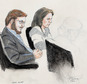 FILE - In this Jan. 20, 2015 courtroom file sketch, James Holmes, left, and defense attorney Tamara Brady are depicted, as they sit in court on the first day of jury selection in Holmes' trial, at the Arapahoe County Justice Center, in Centennial, Colo. Jan. 20, 2015. Holmes faces trial starting on April 27, 2015, in the mass shooting in an Aurora, Colo., movie theater that left 12 dead and 70 wounded. (AP Photo/Jeff Kandyba, file)