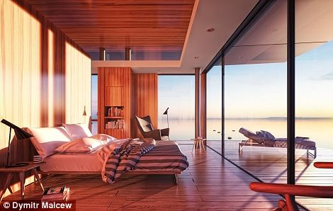 Morning breaks with the light of the dawn sun flooding in through the ceiling-to-floor windows in the panoramic bedroom
