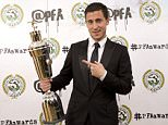 IMAGE STRICTLY EMBARGOED FOR ALL USAGES UNTIL 00.01 ON MONDAY APRIL 27, 2015, OR UNTIL AN OFFICIAL WINNERS ANNOUNCEMENT IS MADE VIA THE @PFA TWITTER ACCOUNT. Winner of the PFA's Men's Player of the Year, Eden Hazard during the PFA Awards at the Grosvenor House Hotel, London. PRESS ASSOCIATION Photo. Picture date: Sunday April 26, 2015. See PA story SOCCER PFA. Photo credit should read: Barrington Coombs/PA Wire