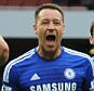 Chelsea's captain John Terry, center, celebrates after the final whistle after the English Premier League soccer match between Arsenal and Chelsea at the Emirates Stadium, London, England, Sunday, April 26, 2015. (AP Photo/Rui Vieira)