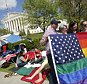 People line up outside the Supreme Court in Washington April 26, 2015, ahead of Tuesday's arguments focusing on gay marriage. REUTERS/Yuri Gripas