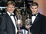 SOCCER PFA/Sheringham/G'rd...STRICTLY EMBARGOED UNTIL 2300HRS, SUNDAY 29TH APRIL 2001. Manchester United's Teddy Sheringham (left) recipient of The Professional Footballers' Association (PFA) Player's Player of the Year Award with Liverpool's Steven Gerrard who received the Young Player of the Year Award at a ceremony held at the Grosvenor House Hotel, London, Sunday April 29, 2001. See PA story SOCCER PFA. PA Photo: Gareth Copley...s