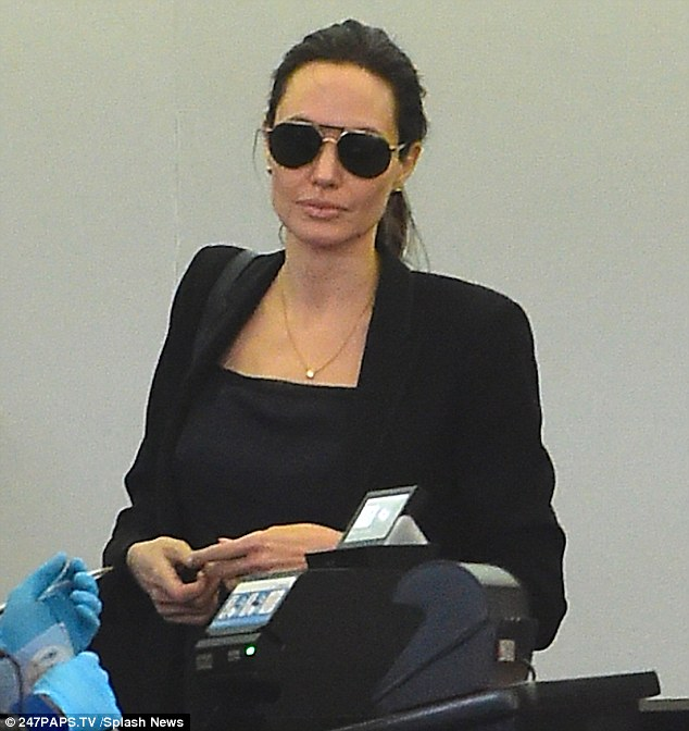 Coast to coast: Angelina  on Saturday arriving at JFK Airport in NYC