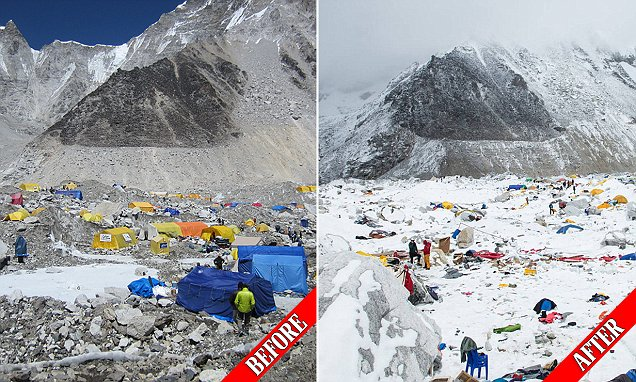 Incredible before and after shots shows the devastation caused by 'wave of snow' avalanche