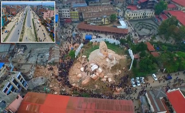 Incredible drone footage shows the shocking extent of destruction across Kathmandu after