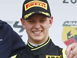 Mandatory Credit: Photo by PIXATHLON/SIPA/REX Shutterstock (4715302f)  Mick Schumacher after receiving the best rookie award during the season kickoff  Formula 4 Racing, Oschersleben, Germany - 26 Apr 2015