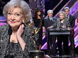 BURBANK, CA - APRIL 26:  (L-R) Marie Osmond, Regis Philbin, Betty White, Tom Bergeron, Charo, and Fred Willard onstage during The 42nd Annual Daytime Emmy Awards at Warner Bros. Studios on April 26, 2015 in Burbank, California.  (Photo by Jesse Grant/Getty Images for NATAS)