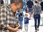 Picture Shows: Seraphina Affleck, Samuel Affleck, Jennifer Garner  April 26, 2015\n \n 'Draft Day' actress and busy mom Jennifer Garner stops by the farmer's market in Brentwood, California with her children Seraphina and Samuel. Missing from the family outing was her husband Ben Affleck and their other daughter Violet. \n \n Non-Exclusive\n UK RIGHTS ONLY\n \n Pictures by : FameFlynet UK © 2015\n Tel : +44 (0)20 3551 5049\n Email : info@fameflynet.uk.com