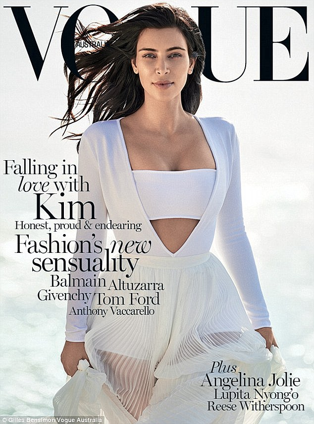 White hot! Christine styled Kim's first solo Vogue cover, giving her a white hot look in a Balmain dress