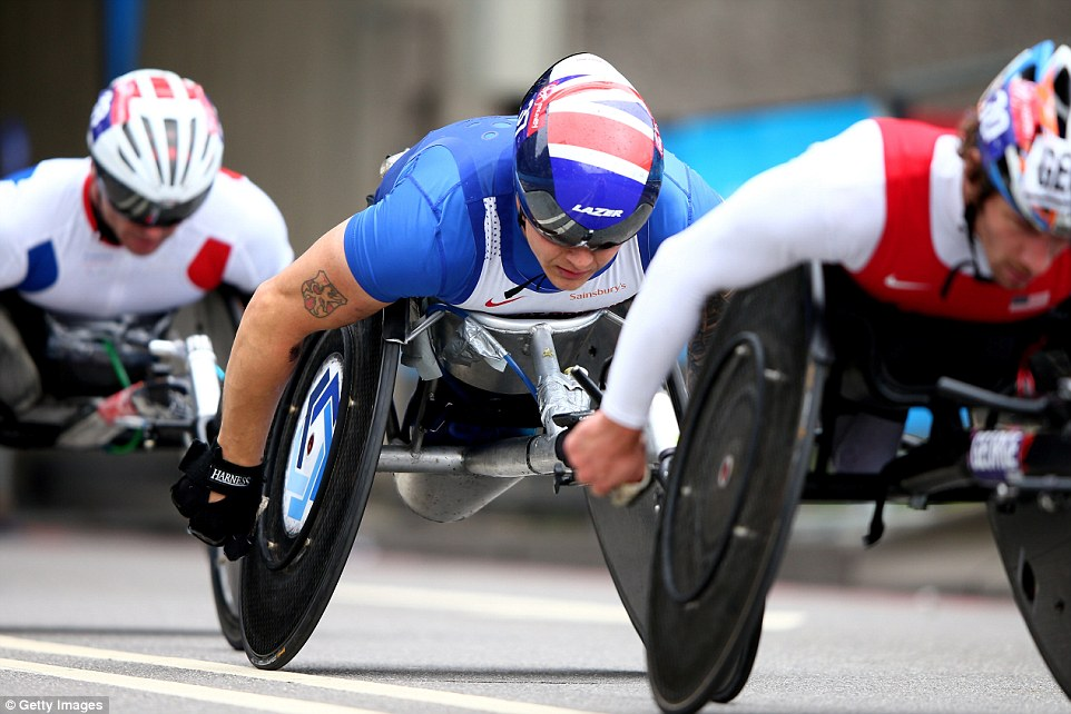 Britain's Paralympic champion David Weir was gunning for a seventh London title in the wheelchair contest but he was pipped to the finish