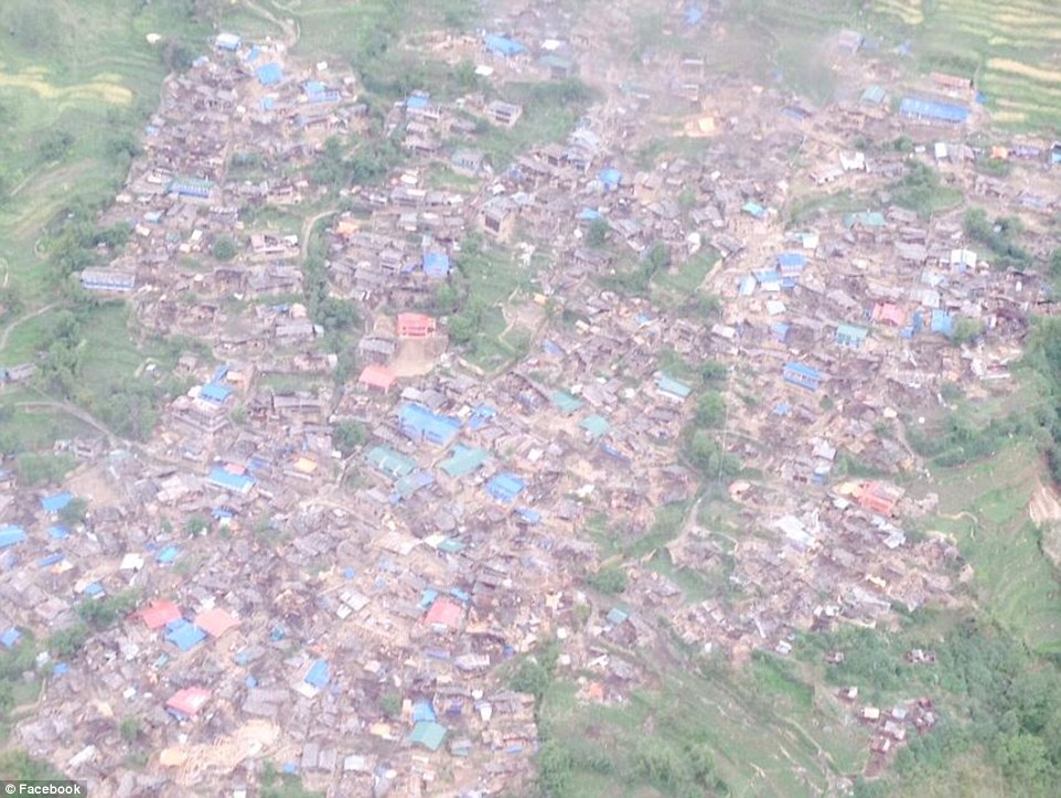 Destroyed: These pictures posted to the account of the ex-Nepalese Prime Minister Dr. Baburam Bhattarai show an entire village has been reduced to rubble in the Gorkha region of the country