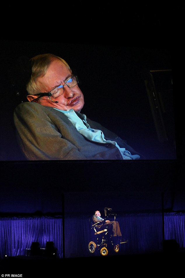 Professor Stephen Hawking appeared at the Sydney Opera House on Saturday night as a 3D hologram from his physical location at Cambridge University in the UK