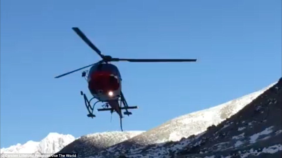 Danish mountaineer Carsten Lillelund Pedersen posted a video on his Facebook page of one of the first rescue helicopters on Everest