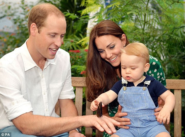 Cute: Prince William and Kate pose with their son Prince George at the National History Museum in London