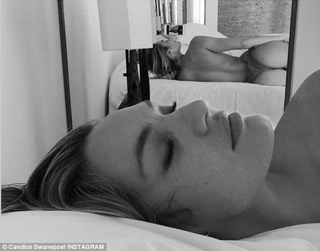 Risque: Meanwhile, Candice has been on the road, Instagramming a black and white selfie on Thursday, with the caption, 'Hotel life #oops'