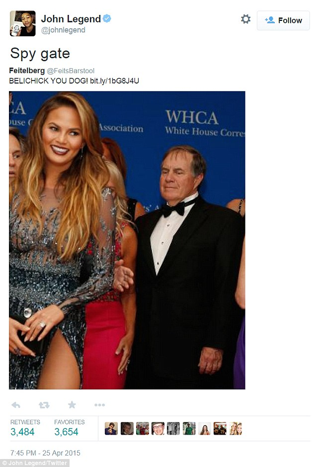 'Spy gate!' On Saturday night, the nine-time Grammy winner tweeted his reaction to New England Patriots coach Bill Belichick (R) checking Teigen out at the White House Correspondents' Dinner
