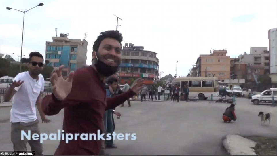 A group of Nepalese prankster were filming a joke video (above)when it was interrupted by the earthquake.Unaware of the seriousness of the situation, they carried on laughing and joking – until the full extent of the tragedy dawned on them