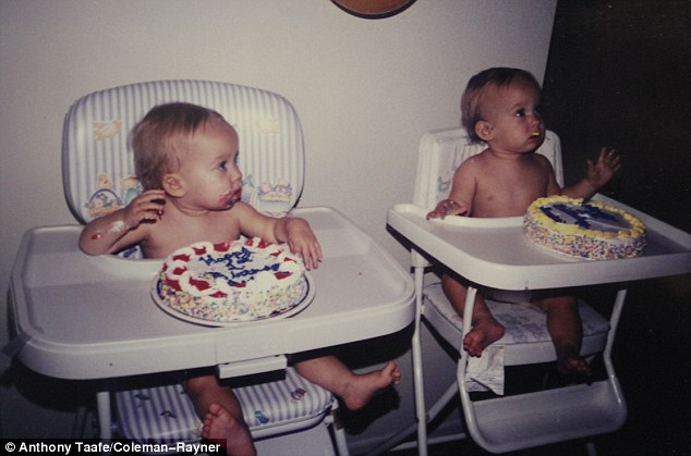 Twins: Sawyer and his twin brother Sullivan celebrate their first birthday with large, personalized cakes