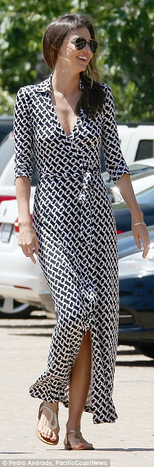 Monochrome magic: Miranda's ankle length  summer dress featured a white chain-like pattern over it's black canvas