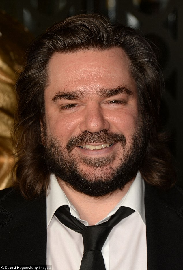 Rugged: Star of Toast Of London Matt Berry is unshaven with a head of messy locks on the night