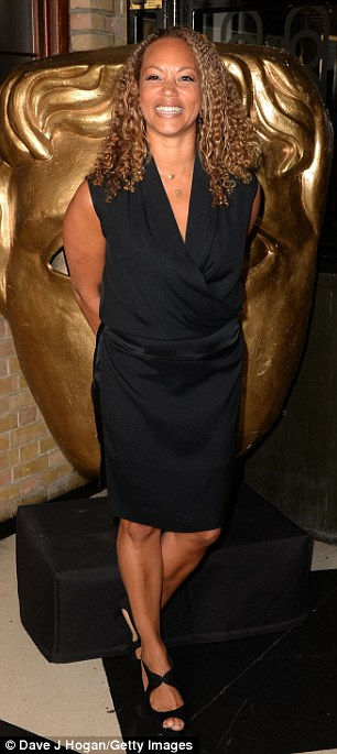 All smiles: Actress Angela Griffin teamed peep toe heels with her smart little black dress