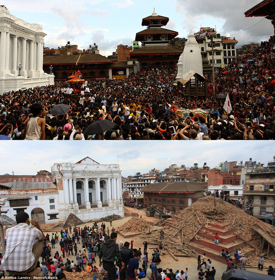 Startling: The combo photo shows Nepalese devotees participating in a procession of chariots of god and goddess Ganesh, Kumari and Bhairav during the last day of Indrajatra festival at Durbar Square in Kathmandu, Nepal in 2013 (above) and the ruins on the Durbar Square after an earthquake in Patan, Nepal