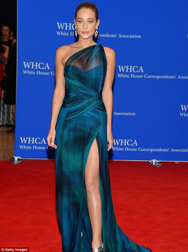 Bringing the glamour: Hannah Davis wore a stunning teal gown on Saturday to the 101st annual White House Correspondents' Association Dinner in Washington, DC