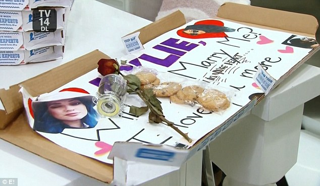 The shocking reveal: Inside one of the boxes was a love note to her 17-year-old daughter Kylie