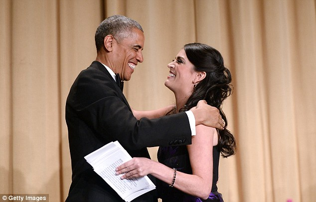 One of Strong's best jokes poked fun at both the president and police brutality, when she said Obama's graying hair 'is so white now it can talk back to the police'