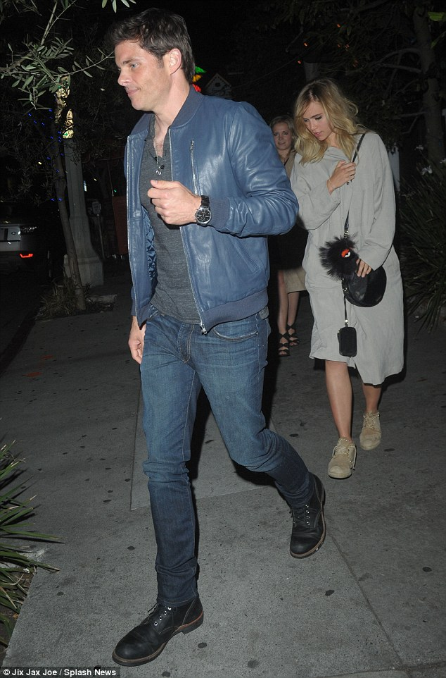 Long dinner: Suki Waterhouse grabs dinner with actor James Marsden (left) at Little Door in Los Angeles following her rumoured reconciliation with Bradley Cooper
