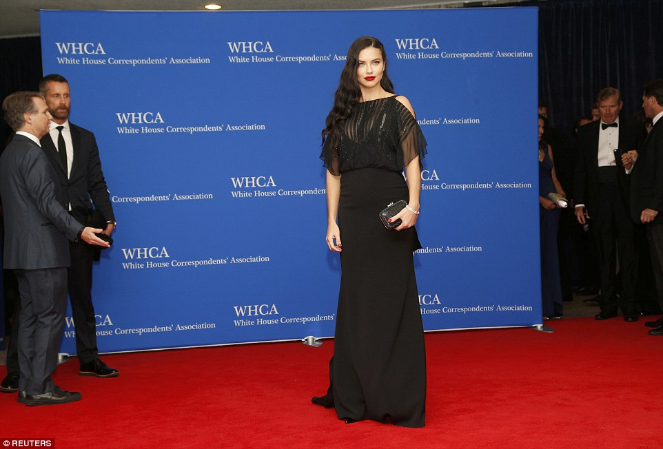 All in black: Model Adriana Lima is pictured at the glittering event, which helps fund scholarships and awards that recognize journalists