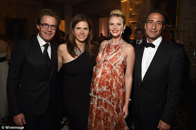Letting their hair down: (L-R) Kyle MacLachlan, Desiree Gruber, Anne Vyalitsyna , and Adam Cahan attend the Bloomberg & Vanity Fair cocktail reception