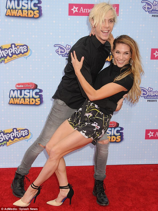 Dance partners: Riker Lynch and his Dancing With The Stars pro partner Allison Holker busted a move on the carpet