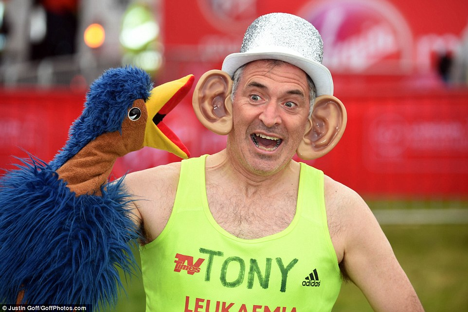 Tony Audenshaw, Emmerdale and former Brookside side, sported comical ears and held a puppet large bird ahead of today's marathon