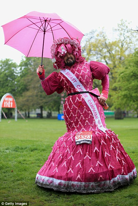 One man opted for this incredible get-up to raise awareness for breast cancer